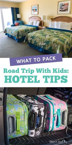 Sharing the hotel room with your whole family? Don't miss this list of hotel tips before you go on your next family road trip. Keep the room neat and tidy and actually enjoy your vacation. Road Trip With Kids, Family Road Trips, Travel With Kids, Family Travel, Family Vacations, Road Trip Packing, Road Trip Essentials, Packing List For Travel, Packing Tips