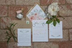 Invitation Suite with Floral Envelope Liner    Photography: Christine Bentley Photography   Read More:  http://www.insideweddings.com/weddings/a-rustic-elegant-barn-wedding-in-santa-barbara-california/980/