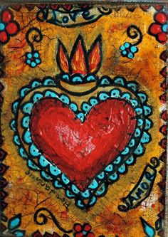 Painting Inspiration, Art Inspo, Mexican Paintings, Folk Art Paintings, Frida Art, Heart Painting, Chicano Art, Mexican Folk Art, Heart Art