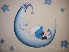 Ζωγραφική παιδικού δωματίου smurf