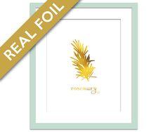 Rosemary Art Print - Gold Foil Print - Food Poster - Gold Foil Kitchen Wall Art - Food Art - Kitchen Art Print - Gift for Chef - Herb Art
