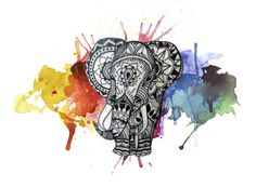 Watercolor Elephant Mandala Tattoo Idea