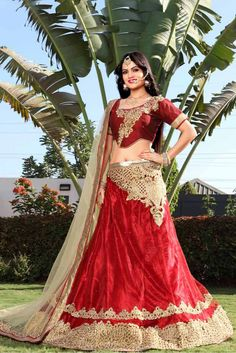 Red Colour Net Fabric Party Wear A Line Lehenga Choli Comes With Matching Art Silk Blouse and Net Fabric Dupatta. This Lehenga Choli Is Crafted With Embroidery Work. It Is An Party Wear Lehenga Choli ...