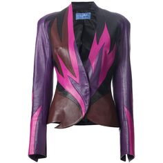 Purple leather jacket from Thierry Mugler featuring a colour blocked flame design to the front, stand up collar, a concealed front fastening and long sleeves w…