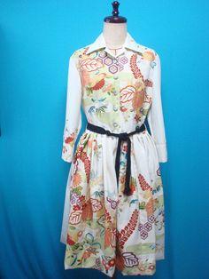 Shirt collar kimono dress - used kimono of vintage - US size 8