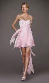 A-line Sweetheart Chiffon Asymmetrical Pink Prom Dress