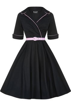 Black with Pink Belt Roxy Dress