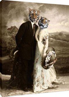 Burt and Loni - Vintage Tiger Print - Anthropomorphic - Altered Photo - Tiger Art - Photo Collage - Gift Idea - Whimsical Art Photo Collage Gift, Photo Art, Photomontage, Wildlife Decor, Tiger Art, Wow Art, Animal Heads, Whimsical Art, Pet Clothes
