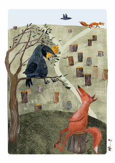 The Fox and the Crow Fable, Aesop, Poster, Illustration, Wall Decor. $20.00, via Etsy.