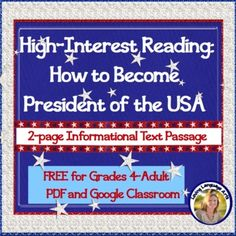 How to Become President of the USA - FREE Informational Text in PDF Middle School Ela, High School English, Simple Prints, Google Classroom, Student Work, Social Studies, How To Become, Middle School English, Social Science