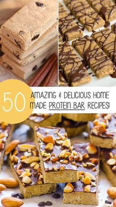 The 50 best protein bar recipes from around the web! Protein bars are a brilliant way to pack more protein into your diet. They are quick, easily packed and can travel with you anywhere. However, some protein bars you buy from the store may be too expensi Best Protein Bars, Healthy Protein Snacks, Protein Bar Recipes, Healthy Bars, Protein Powder Recipes, Protein Bites, Healthy Desserts, Gourmet Recipes, Homemade Protein Bars