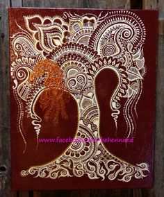 Henna Mehndi Tree of Life Canvas Custom Colors Design by Behennaed