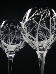 2 Red Wine Glasses . Hand Engraved . 'Reaching Branches' Outdoor Entertaining Glassware . Gift For Brides and Grooms. $58.25, via Etsy.