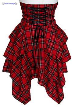New Spin Doctor Red Tartan Steam Punk Bondage Corseting Mary Skirt 8 16 Steampunk Skirt, Steampunk Fashion, Gothic Fashion, Red Tartan Skirt, Plaid Skirts, Tartan Plaid, Tartan Dress, Black Plaid, Cool Outfits