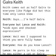 End they're all left to wonder why Lance knows that Keith purrs in his sleep. Lol
