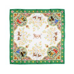 "LION ET BICHES SILK SQUARE 100% silk | Made in France | Square scarf | Handfinished |  36"" x 36"" 