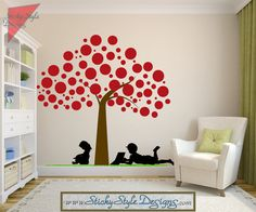 Polka Dot Tree Wall Mural Decal with Children Silhouettes -Free Shipping! Large Removable Vinyl Art Nursery Graphic Sticker Transfer #T013