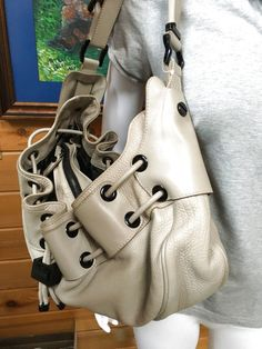 c370edcddc6 Burberry Grommet Large Hobo Neutral Leather Drawstring Bag in Clothing,  Shoes   Accessories, Women s Handbags   Bags, Handbags   Purses   eBay