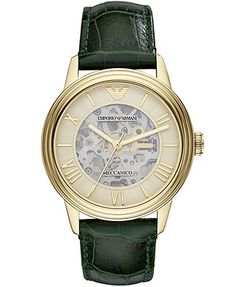 Emporio Armani Watch, Men's Green Croco Leather Strap Check out on Stylr~