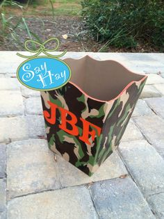 Hand-painted #Monogrammed Wastebasket in #camo print <3 I love decorating baby #boy rooms - #camouflage #nursery = so fun