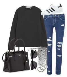 """""""Untitled #635"""" by arythebeeslayer on Polyvore featuring T By Alexander Wang, Prada, adidas Originals, Marc by Marc Jacobs, Yves Saint Laurent, Forever 21 and ADORNIA"""