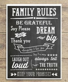 Loving this Chalky 'Family Rules' Print on #zulily! #zulilyfinds
