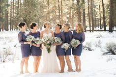 FivePine Lodge Wedding. Bridal party and lace dresses. Winter wedding. Sisters, Oregon. Destination Wedding. Kimberly Kay Photography