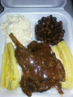 Baked lamb plantain pigeon peas& rice made from home