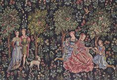 """tapisserie scene galante   Tapisserie des Gobelins """"scènes galantes médiévales"""""""