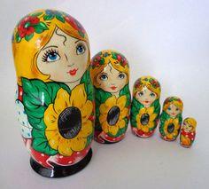 Stacking dolls matryoshka Sunflowers babies by FolkSouvenir, $36.00