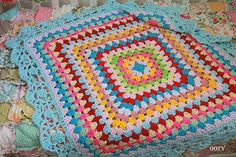 colorful aqua Baby Blanket / Throw for your home decor / granny squares