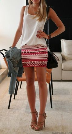 Fitted printed skirt and simple flowy top.