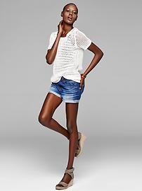 open knit sweater, navy/white stripe tank, jean shorts, wedges---CUTE!