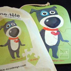Casse-tête en bois magnétique Panko, cadeau pour enfant, aimant, moderne, Montréal, fait au Québec, Canada, Mabie Ecodesign de la boutique MabieEcodesign sur Etsy