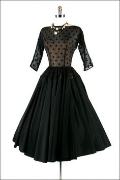 Vintage 1950s 50s Dress --- Black Illusion Polka Dot Full Skirt Party Cocktail Wedding Taffeta