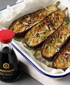 Miso and honey roast aubergine