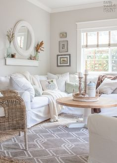 A cozy farmhouse cottage style fall home tour. Seasonal decorating using neutrals, muted greens and blues mixed with natural elements and seasonal florals. room Hello Fall Home Tour - Saw Nail and Paint Cottage Living Rooms, Cottage Interiors, Home Living Room, Living Room Decor, Paint Colors For Living Room, Beach Cottage Style, Beach Cottage Decor, Coastal Wall Decor, Cottage Style Decor