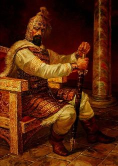 ХАН ТЕРВЕЛ маслени бои,платно Васил Горанов KHAN TERVEL oil on canvas Vasil Goranov КАРТИНАТА Е НАРИСУВАНА ЗА ЕДНОИМЕННАТА КНИГА НА АКАДЕМИК АНТОН ДОНЧЕВ И АКАДЕМИК ВАСИЛ ГЮЗЕЛЕВ СКАЗАНИЕ ЗА ХАН ТЕРВЕЛ