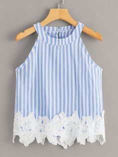 To find out about the Striped Appliques Halter Blouse at SHEIN, part of our latest Tank Tops & Camis ready to shop online today! Teen Fashion, Fashion Outfits, Diy Clothes, Clothes For Women, Kids Outfits, Cute Outfits, Plus Size Tank Tops, Applique Fabric, Vacation Dresses