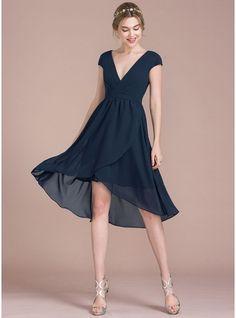 A-Line/Princess V-neck Asymmetrical Chiffon Cocktail Dress