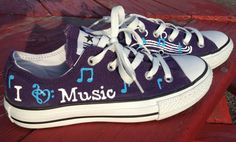 I Love Music HandPainted Converse by ANWdesigner on Etsy, $75.00