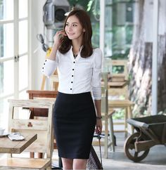 White Long Sleeves Simple Style Korean Trendy Shirt  1