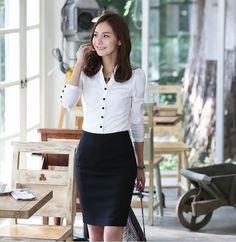 White Long Sleeves Simple Style Korean Trendy Shirt  1