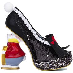 Irregular Choice x Alice in Wonderland White Rabbit Heels - Black (10,925 DOP) ❤ liked on Polyvore featuring shoes, black, sequin shoes, black lace shoes, black high heel shoes, sparkly shoes and lace shoes