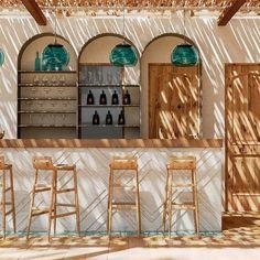 Caomma Beach Bar in Syros, Greece by Mado Samiou Architecture in collaboration with Xenos Design Cafe Interior Design, Cafe Design, Home Bar Rooms, Bar Restaurant, Beach Restaurant Design, Beach Cafe, Hotel Pool, Pool Bar, Beach Design