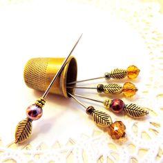 Needlecraft accessories fall Autumn set 5 Katniss Autumn arrow fall decorative straight pins amber wine gold leaf sewing craft room tagt
