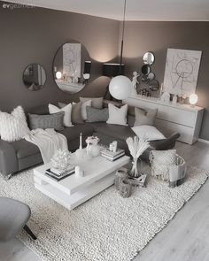 20 tips will help you improve the environment in your bedroom Beautiful home decoration salon decoration interieur maison Living Room Grey, Small Living Rooms, Living Room Designs, Black White And Grey Living Room, Grey Room, Interior Design Career, Home Design, Interior Styling, Online Furniture Stores