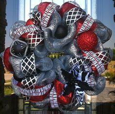 Silver Red and Black Zebra Winter deco mesh wreath. $90.00, via Etsy.
