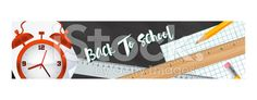 Back To School Supplies Banner or Web Header With Clock royalty-free stock vector art