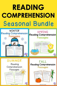 These fun seasonal reading passages can help primary students develop comprehension skills! The bundle contains 40 passages with 4 short answer questions each.